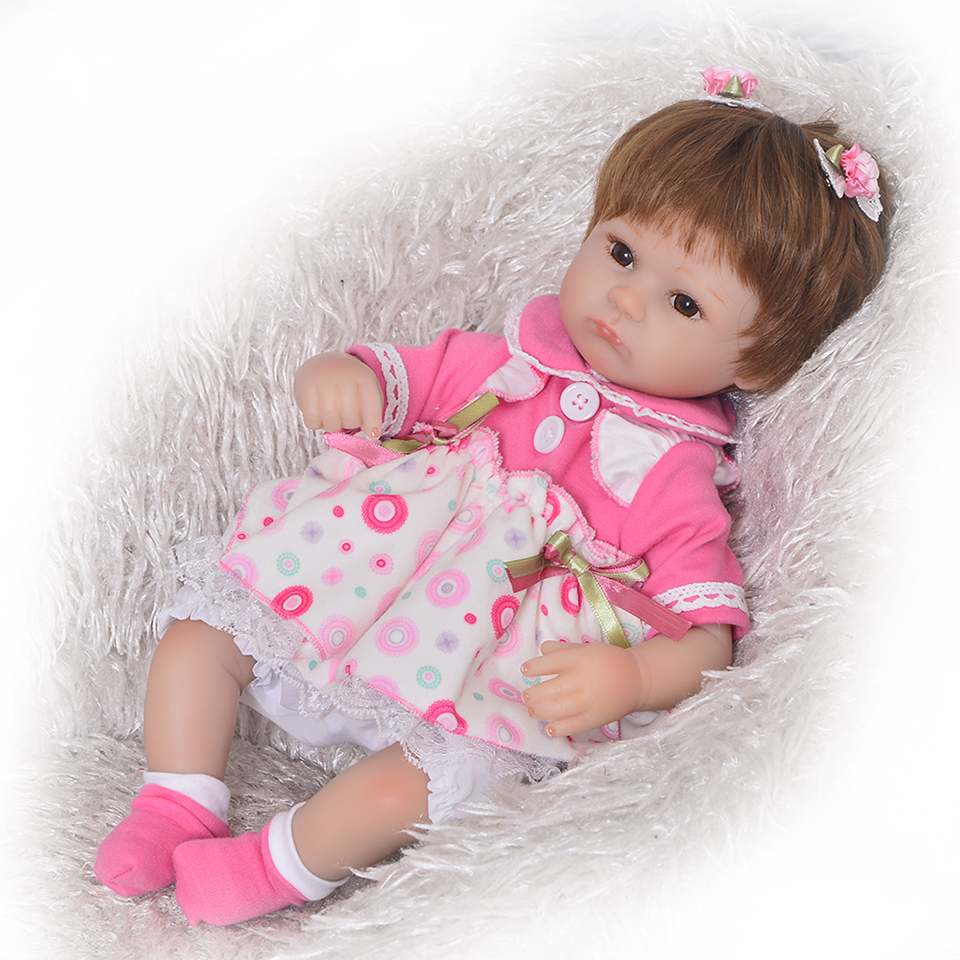 Brown Eyes Silicone Baby Dolls 17 Inch Real Touch Princess Girl Babies Doll Reborn With Tailored
