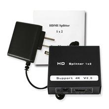 Wiistar Бесплатная доставка 2 порты и разъёмы HDMI 2,0 Full HD 2160 P HDR Splitter Extender 1X2 1 в из 4 к x 2 к/60 Гц Поддержка HDCP2.2 3D для ПК DV