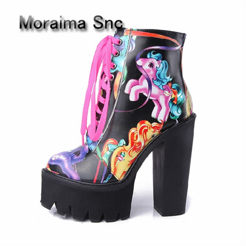Moraima Snc Newest Print Women Ankle Boots 14CM Chunky High Heel Lace Up Platform Boot Female Riding Boots Rubber Botas Mujer