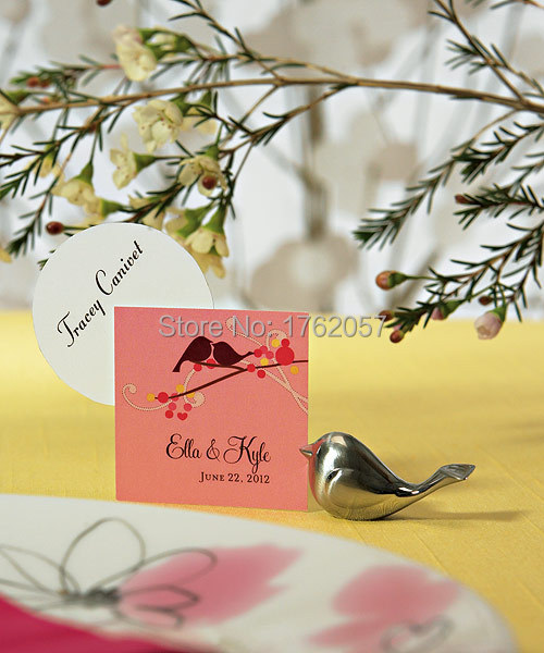 table decoration Party Love birds wedding place Card holder Brushed Silver placecard photo frame 100pcs