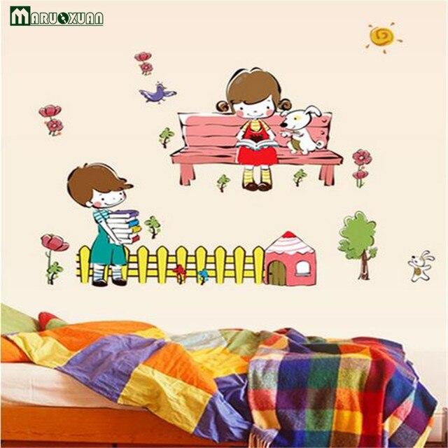 Maruoxuan Cartoon Lesen Junge Mädchen Lernen Kleine Partner Studie  Schlafzimmer Aufkleber Entfernbare Wand Aufkleber Kinderzimmer