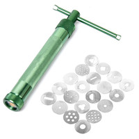 Portable Polymer Clay Gun Extruder Sculpey Sculpting Tool With 20 Interchangeable Discs Green