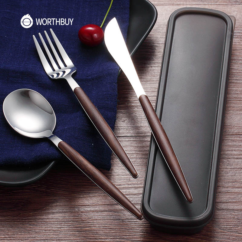 WORTHBUY 4 Pçs/set Ocidental Conjunto de Talheres 304 Jogo de Jantar De Aço Inoxidável Com Punho De Madeira Faca de Cozinha Talheres Conjunto Garfo
