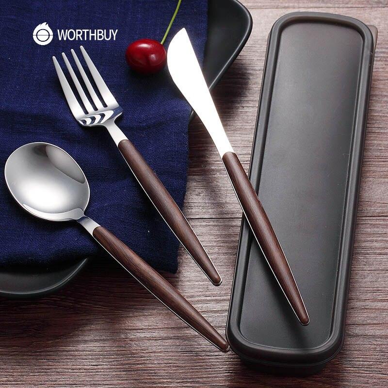 WORTHBUY 4 Pcs/Set Western Portable Cutlery Set 304 Stainless Steel Dinnerware Set With Wooden Handle Knife Dinner Tableware Set