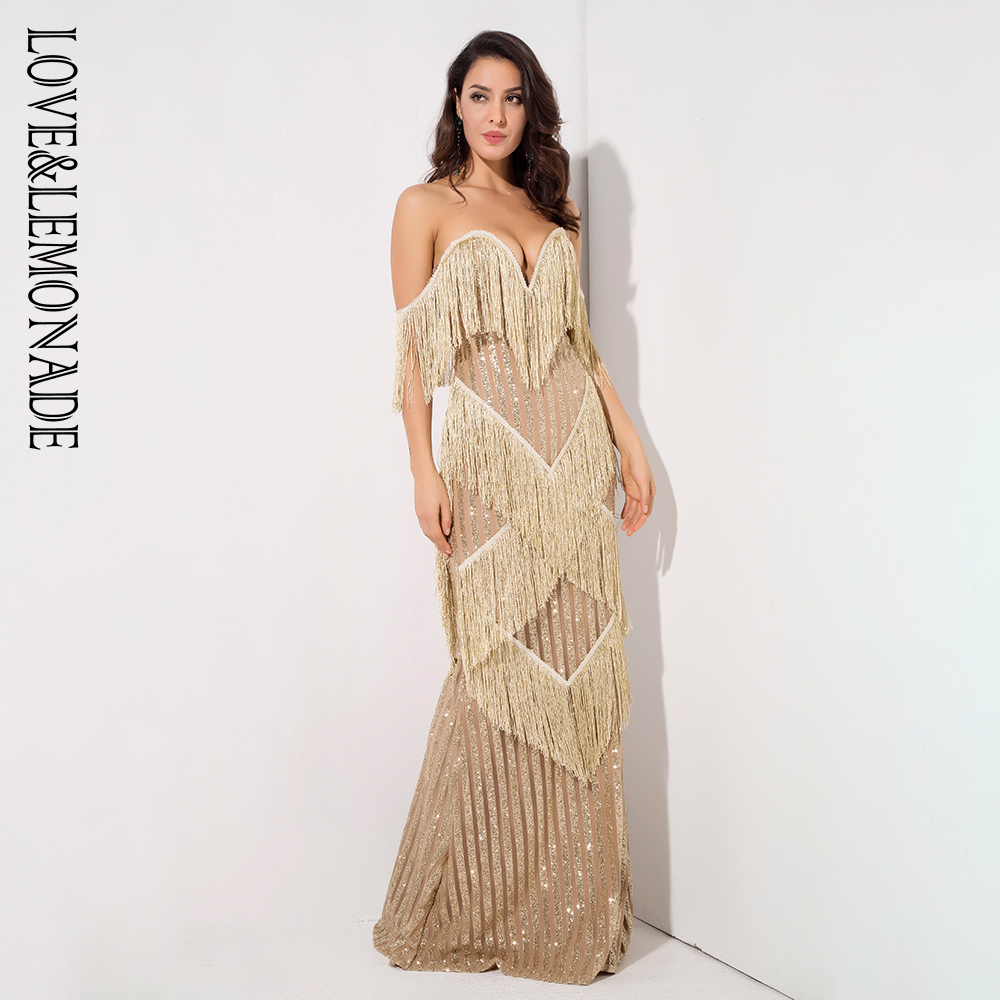 Amour & limonade profonde col en v or frangé rayures décoratives paillettes longue robe LM1316-in Robes from Mode Femme et Accessoires    2