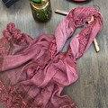 Новый Роскошный Вышивка Кружева Цветочные Шарф Женщины Вышивает Цветок Чистого Шелка Шарфы Шали Женский Элегантный Echarpes