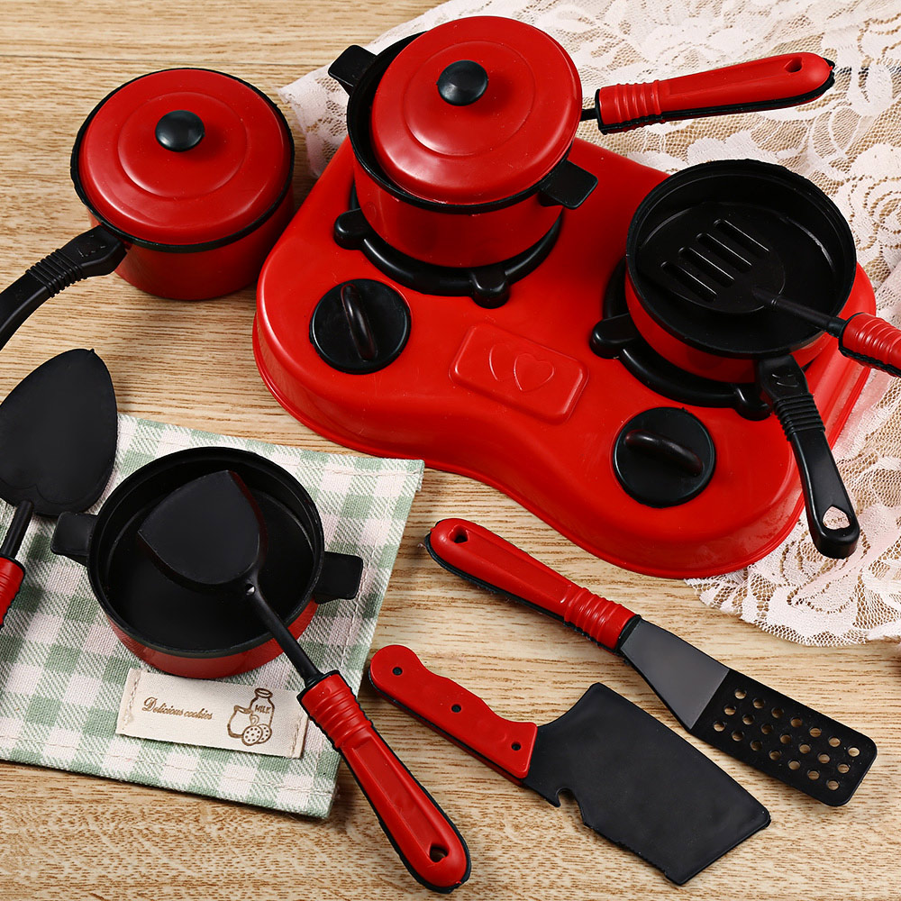 11pcs Kitchen Tableware Pretend Role Play Toy For Kids Simulation Kitchen Utensils Toy C ...