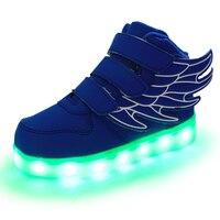 2016 Yeni Moda Çocuklar Melek Kanatları Serisi LED Işıklı Çocuklar Rahat Ayakkabılar Erkek ve Kız Şarj Edilebilir Işık Yüksek top Sneakers