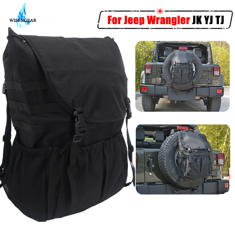For Jeep Wrangler JK YJ TJ Bags Organizers Trunk Spare Tire Storage Bag Tool Saddlebag Multi