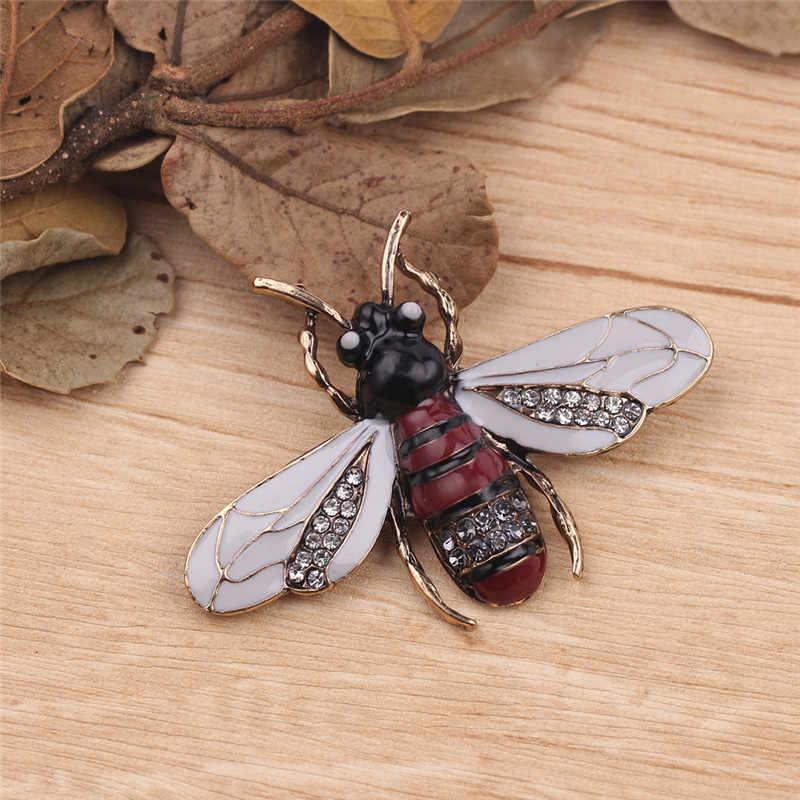 Vintage Insect Bee broszka dla kobiet dzieci dziewczyny biżuteria z motywem pszczół złoty kolor żółty zielony emaliowane broszki biżuteria bumble bee Broche