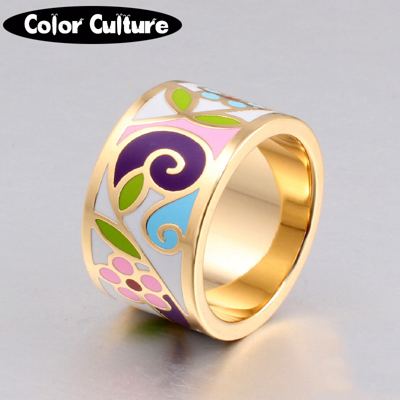 New Arrival Flower Enamel Ring Gold-color Geometric Patterns Ring 1.3CM Big Rings for Women Ethnic Jewelry Mother gift