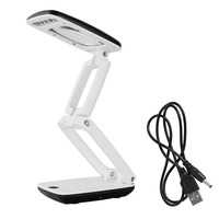 Upgrade 3X Foldable Magnifier LED Illumination Desktop Lamp USB Batteries Power Magnifying Glass For Reading Writing