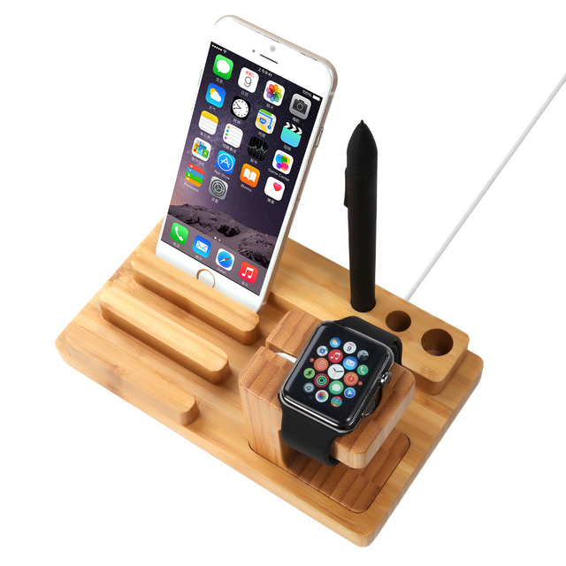 High Quality Bamboo Charging Stand For Apple Watch iphone 4/4S/5/5s/5c/6/6 Plus For samsung HTC LG xiaoni huawei Meizu