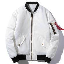 Winter Bomber Pilot Jacket Men Women Solid Hip Hop Hooded Baseball Jacket Fashion Youth Windbreaker Streetwear White Black Blue cheap Outerwear Coats Jackets REGULAR Rib sleeve Polyester Cotton Hat Detachable DH-JC03 MANDARIN COLLAR Thick (Winter)
