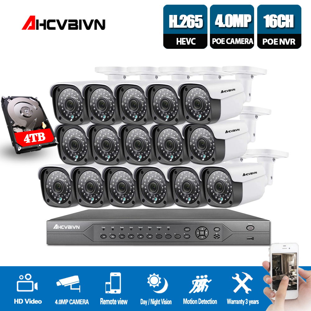H.265 16CH 4K 5MP CCTV Security System 5MP HD POE NVR Kit 4.0MP Bullet Outdoor POE IP Camera P2P ONVIF Video Surveillance Set