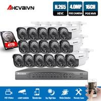 H.265 16CH 4K 5MP CCTV Security System 5MP HD POE NVR Kit 4.0MP Bullet outdoor POE IP Camera P2P ONVIF Video Surveillance Set