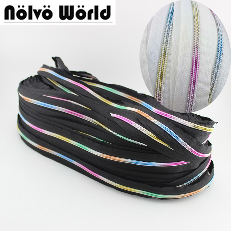 150 Yards/roll 5# Noir Blanc Tape Nylon Teeth Zipper,Rainbow #5 Black White Coil Zippers Negro Zip Wholesale