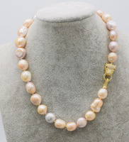 freshwater pearl white pink purple baroque 12 15mm leopard clasp necklace 18inch FPPJ wholesale beads nature