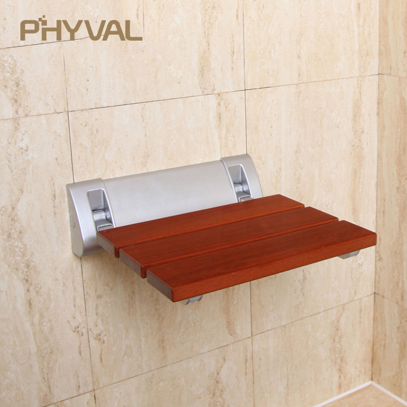 Wall Mounted Shower Seat Wood Bench Shower Folding Seat