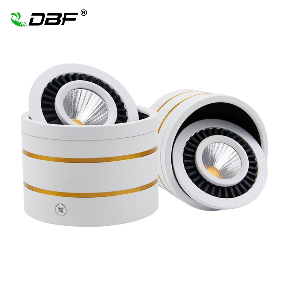 Frugal [dbf]360 Degree Rotating Dimmable 5w/7w/9w/15w Cob Led Surface Mounted Downlight White Housing Ac85v-265v Spot Light Home Decor Reliable Performance