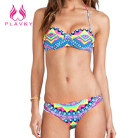 2016 Women Sexy Geometic Halter Micro Thong Bandeau Swimwear Female Split Beach Bathing Suit Brazilian Push