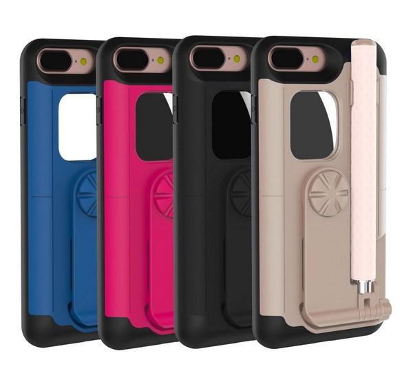 Caja del teléfono autofoto palillo para iphone 7 sostenedor del soporte de lujo caso de la cubierta para el iphone 7 plus función de auto-temporizador bar para niñas