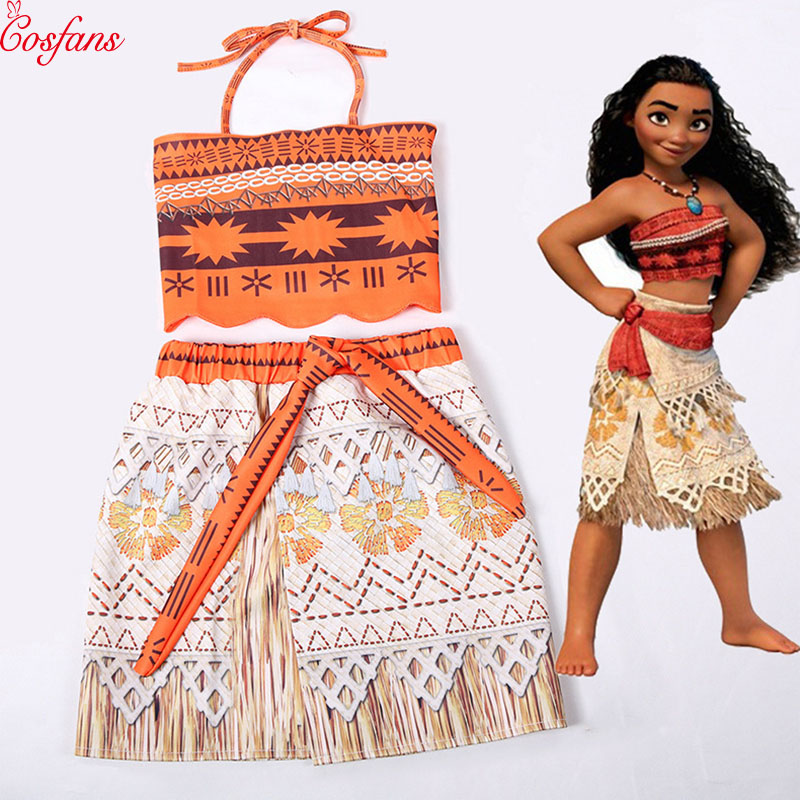 Movie Princess Moana Costume for Kids Moana Princess Dress Cosplay Costume Children Halloween Costume for Girls Party Dress 2019