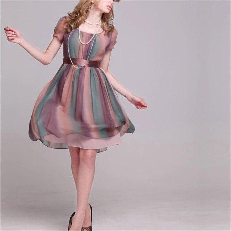 Femme printemps été Plus 100% soie une pièce genou longueur robe femmes automne lâche offre spéciale couverture 100% robes en soie