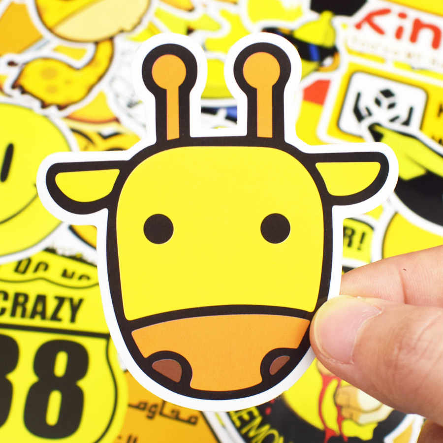 50 pcs yellow sticker mixed cartoon animal waterproof decals stickers for kid diy luggage notebook helmet
