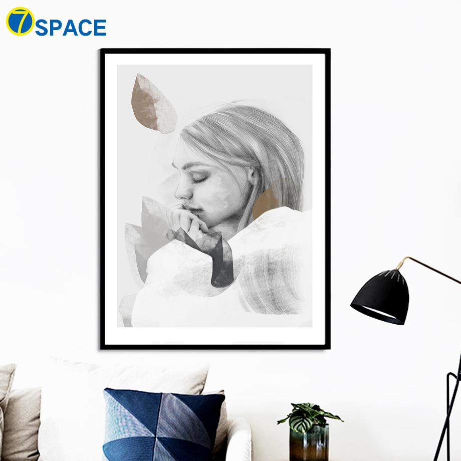 Illustration Girl Leaves Wall Art Canvas Painting Nordic Posters And Prints Pop Art Canvas Prints Wall Pictures For Living Room in Painting Calligraphy from Home Garden