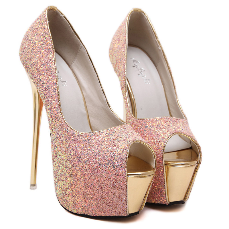 New nightclub high heeled shoes Europe and America sexy sequins fish mouth stiletto shoes waterproof platform high heels large s