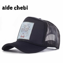 [aide chebi]2017 female baseball caps woman snapback hat denim net cap casquette bone hats for women men Animal cartoon dad hat