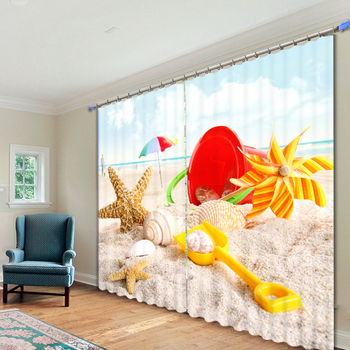 Custom 3D Blackout Curtains Panel Beach Shell Starfish Toy Pattern Non-Fading Fabric Children Bedroom Curtains for Living Room