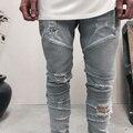 2016 diseñador de ropa pantalones slp representan azul/negro destruido biker flaco mens delgados del dril de algodón recto pantalones vaqueros los hombres pantalones vaqueros rasgados 28-