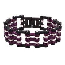 316L Stainless Steel  Bike Motorcycle Bracelet 25mm Width Purple Black Punk Rock style Multi-layer design Jewelry