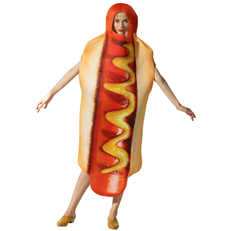 Adult men women Halloween party Cosplay fast food hot dog sandwich costume clothes  jumpsuit new style