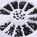 1 Коробка Черный 3D Ногтей Стразами Украшения С Плоским Дном Звезда Луна Bownot Teardrop Ногтей Маникюр Советы Украшение Колеса