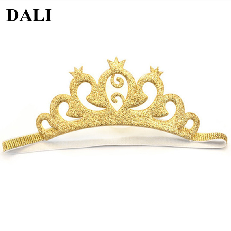 DALI Infant Girls Golden Tiaras Headbands Baby Hair Bands Special Infant 6-12 Month Toddler 1 Birthday Party Photography Crown
