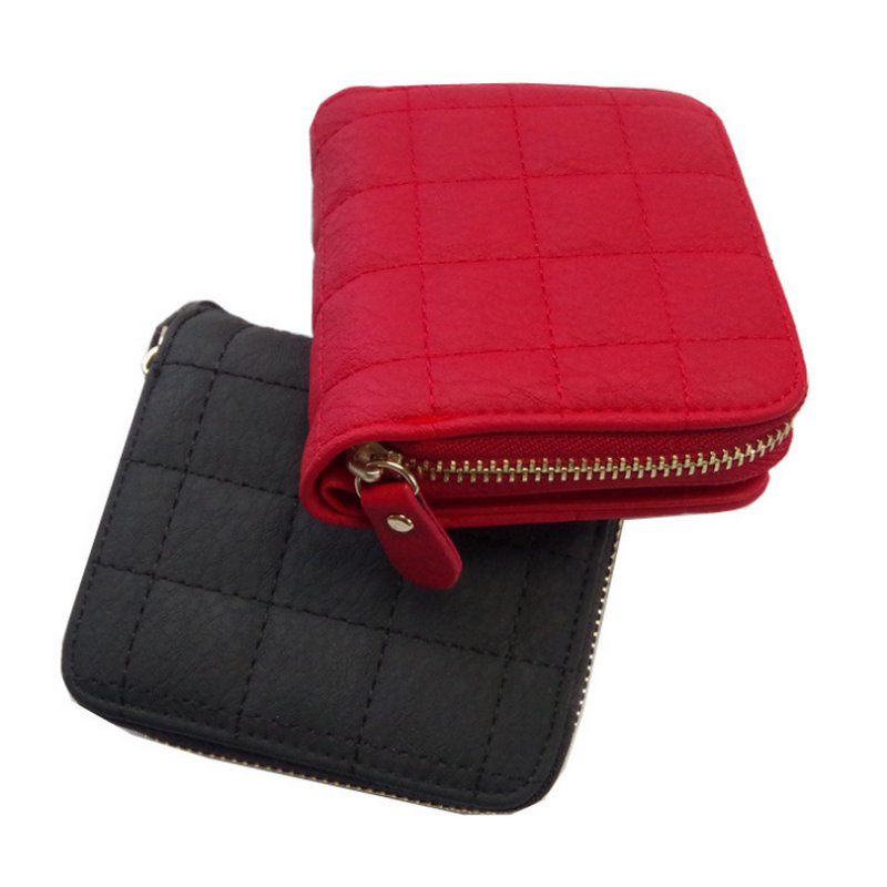 5 Color PU Leather Small Zipper Wallet Plaid Coin Purses Holder Fashion Short Wallets Nubuck Card Holder for Women
