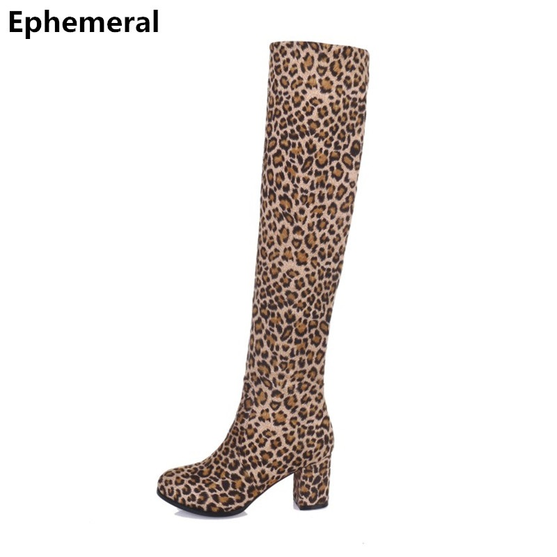 цена Ladies Leopard Printed High Heel Boots Over-Knee Add Fur for Winter Season Square Heel Flock Shoes Round Toe Long Plus Size 3-12 в интернет-магазинах