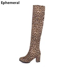 229ffad02 Ladies Leopard Printed High Heel Boots Over-Knee Add Fur for Winter Season  Square Heel Flock Shoes Round Toe Long Plus Size 3-12