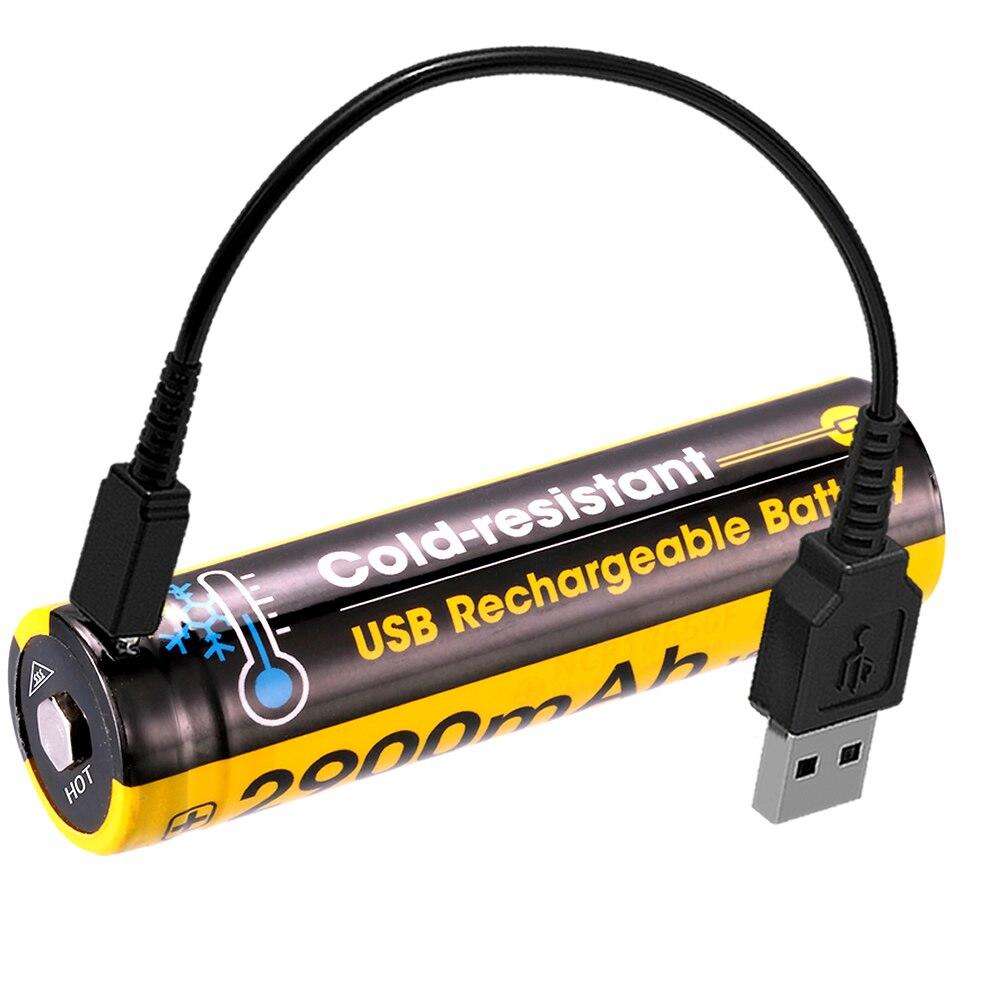 NITECORE 2600mAh Vysoce výkonná dobíjecí Li-ionová knoflíková baterie Nejlépe 18650 Chráněná baterie NL1826R s nabíjecím kabelem USB