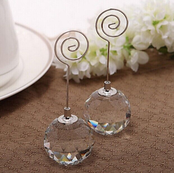 18pcslot wedding favor crystal diamond ball place card holders wedding table numbers holder party decor free shipping