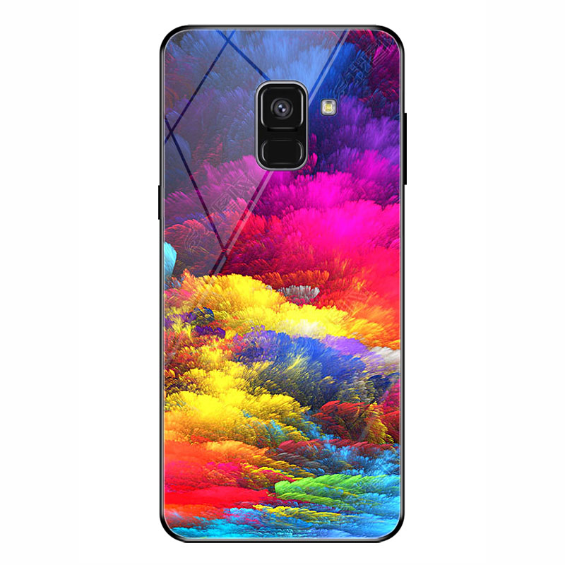 For Samsung Galaxy A8 2018 Star Moon pattern phone glass case For Galaxy A8 2018 5 6 inch Soft border glass case fashion A8 2018 in Half wrapped Cases from Cellphones Telecommunications