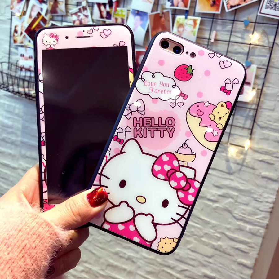 Glass back For iPhone X pink Case + screen protect Cartoon Cute Hello kitty Cover for iPhone 10 8 7 plus 6s Tempered Glass film