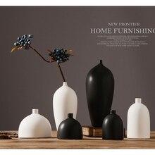 1 шт. керамическая ваза для цветов современная простота вставки растений гостиная домашний декоративный креативный черный белый