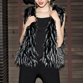 Fur waistcoat winter womens short faux fur vest slim black fur top sleeveless womens silver fox fur vests coat plus size