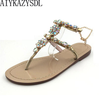 Hongyi Luxury Shoes Woman Summer Gladiator Sandals Women Crystal Rhinestone Thong Flip Flop Roman Sandals Flats