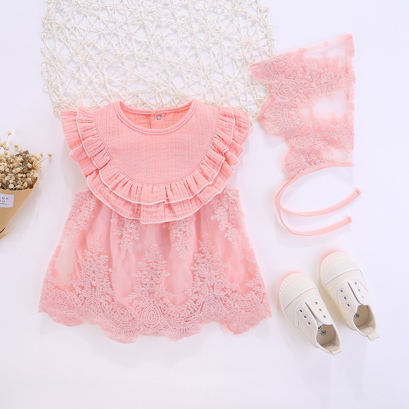 Summer Princess Style Newborn Baby Dress +hat 2pcs set birthday Christening pink Ruffle Lace baby girls clothes Party Dresses