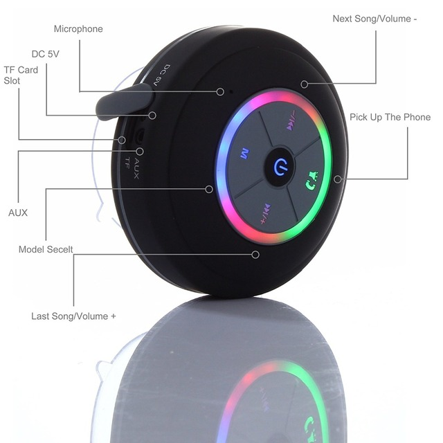 Nasin Portable Subwoofer Shower Waterproof Wireless Bluetooth Speaker Car Handsfree Call Music Suction Mic For IOS Android Phone 3